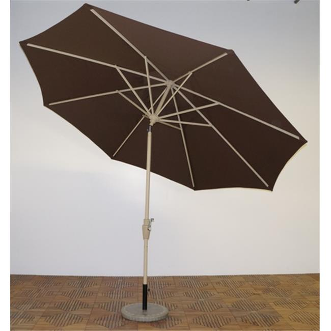 Shade Trends UM11-MA-110 11 x 8 ft. Premium Market Umbrella - Maple Frame, Kona Brown Canopy