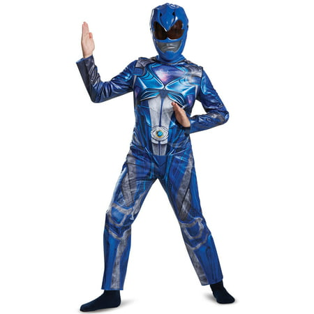Power Rangers Blue Ranger Classic Child Halloween Costume, One Size, L (10-12) - Halloween All In One Costumes