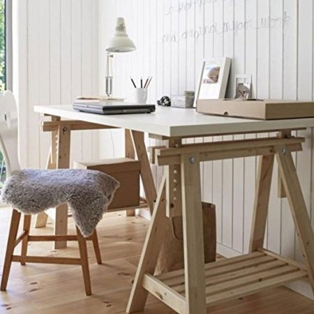 ikea linnmon white desk table 59x30 with 2 beech wood brown trestle shelf legs height and angle. Black Bedroom Furniture Sets. Home Design Ideas