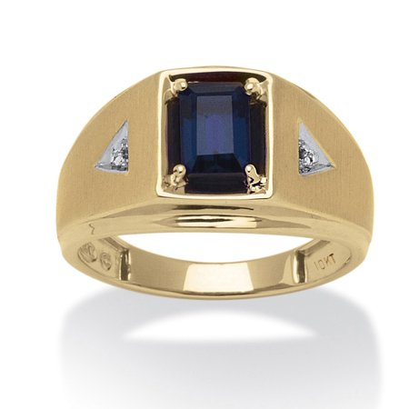 (Men's 1.15 TCW Emerald-Cut Created Sapphire and Diamond Accent Ring in 10k Yellow Gold)