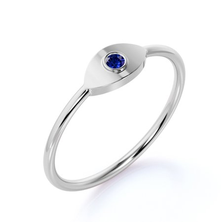 Evil Eye Round Brilliant Blue Sapphire Stacking Minimalist Ring in 10k White Gold