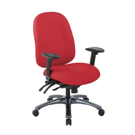 Office Star Products Pro-Line II Multi-Function High Back Chair with Seat Slider and Titanium Finish Base