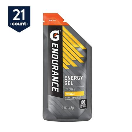Gatorade Endurance Energy Gel, Mango, 1.3 oz Pouches, 21 Count