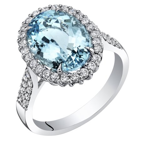 14K White Gold IGI Certified Aquamarine Diamond Ring 5.02 Carats Total Weight Oval - Total Weight Oval Shape