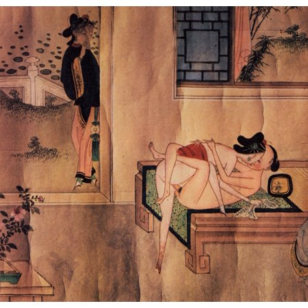 Framed Art for Your Wall Chinesischer Künstler des 18. Jahrhunderts - [Couple in bed, which is observed by a girl behind the corner] 10 x 13 Frame 18 Walk Behind Blade
