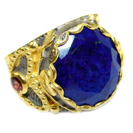 Gold Lapis Ring (Natural Lapis Lazuli  14K Gold over .925 Sterling Silver handcrafted ring size 6 by SilverRush Style)