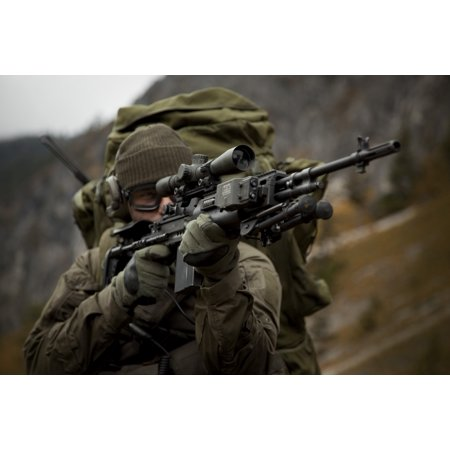 US special forces soldier armed with an MK14 Enhanced Battle Rifle Canvas Art - Tom WeberStocktrek Images (35 x