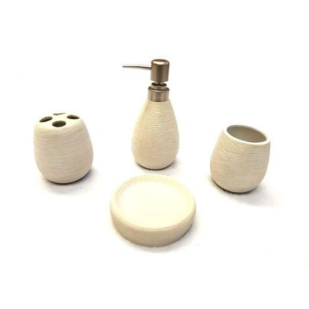 Empire Home Modern Stone 4-Piece Bathroom Accessory Ceramic Set ()