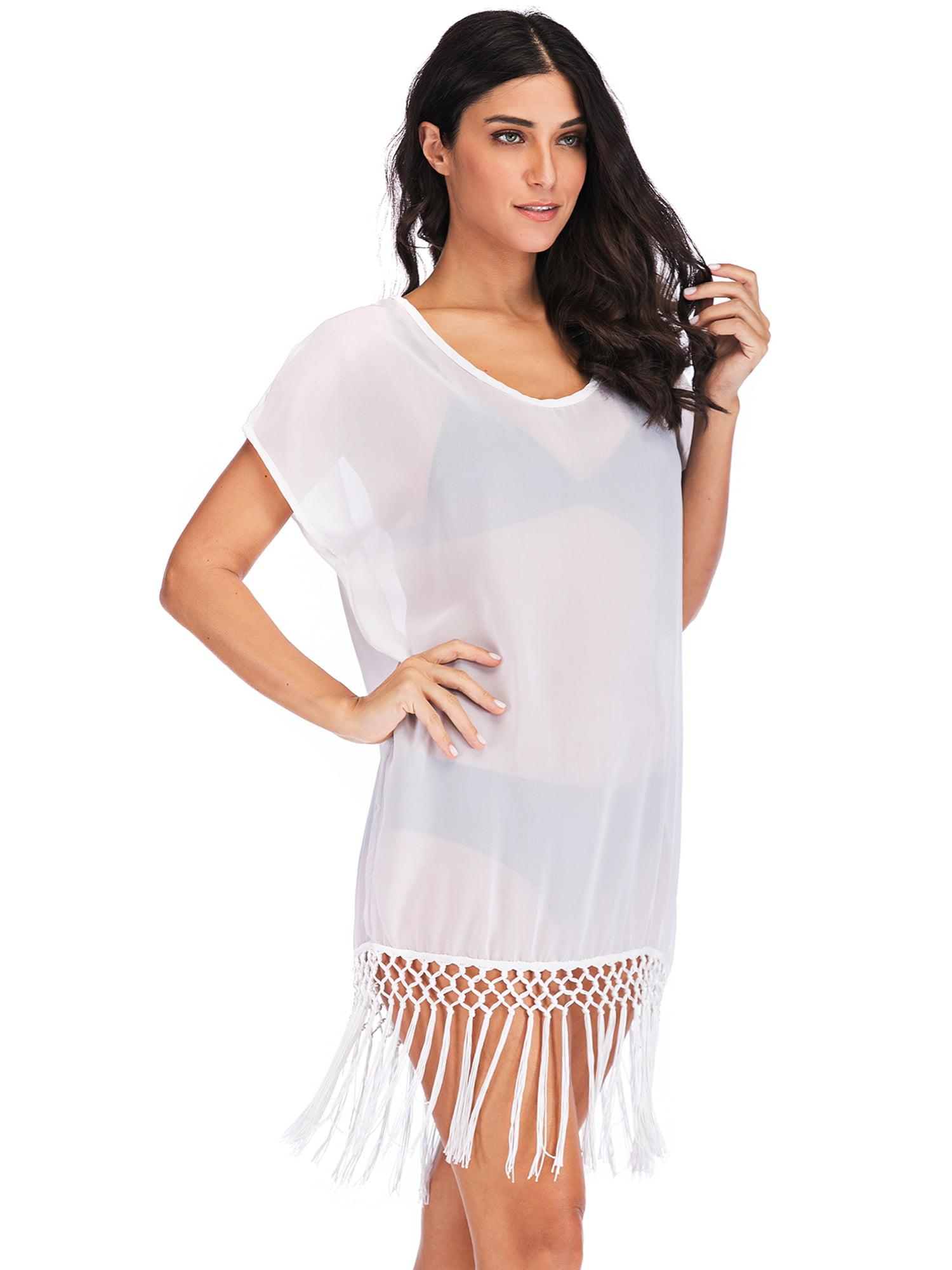8c9e9abe33 Lelinta - LELINTA Women's Chiffon Tassel Beach Bathing Swimsuit Cover Up  Bikini Wrap Beach Dress Black/White - Walmart.com