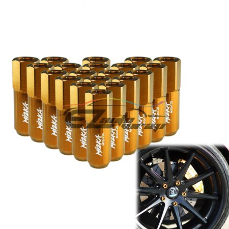 Gold 20 PCS M12X1.25 Lug Nuts Extended Tuner Aluminum Wheels Rims Cap WN02