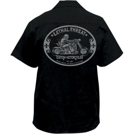 Lethal Threat Custom Motorcycle Mens Button Up Short Sleeve Workshirt Black/Gray