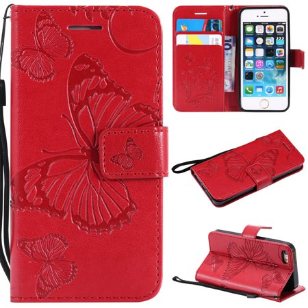 - iPhone 5S Case,iPhone 5 Case,iPhone SE Wallet case, Allytech Pretty Retro Embossed Butterfly Flower Design Pu Leather Book Style Wallet Flip Case Cover for Apple iPhone 5/ 5S / SE, Red
