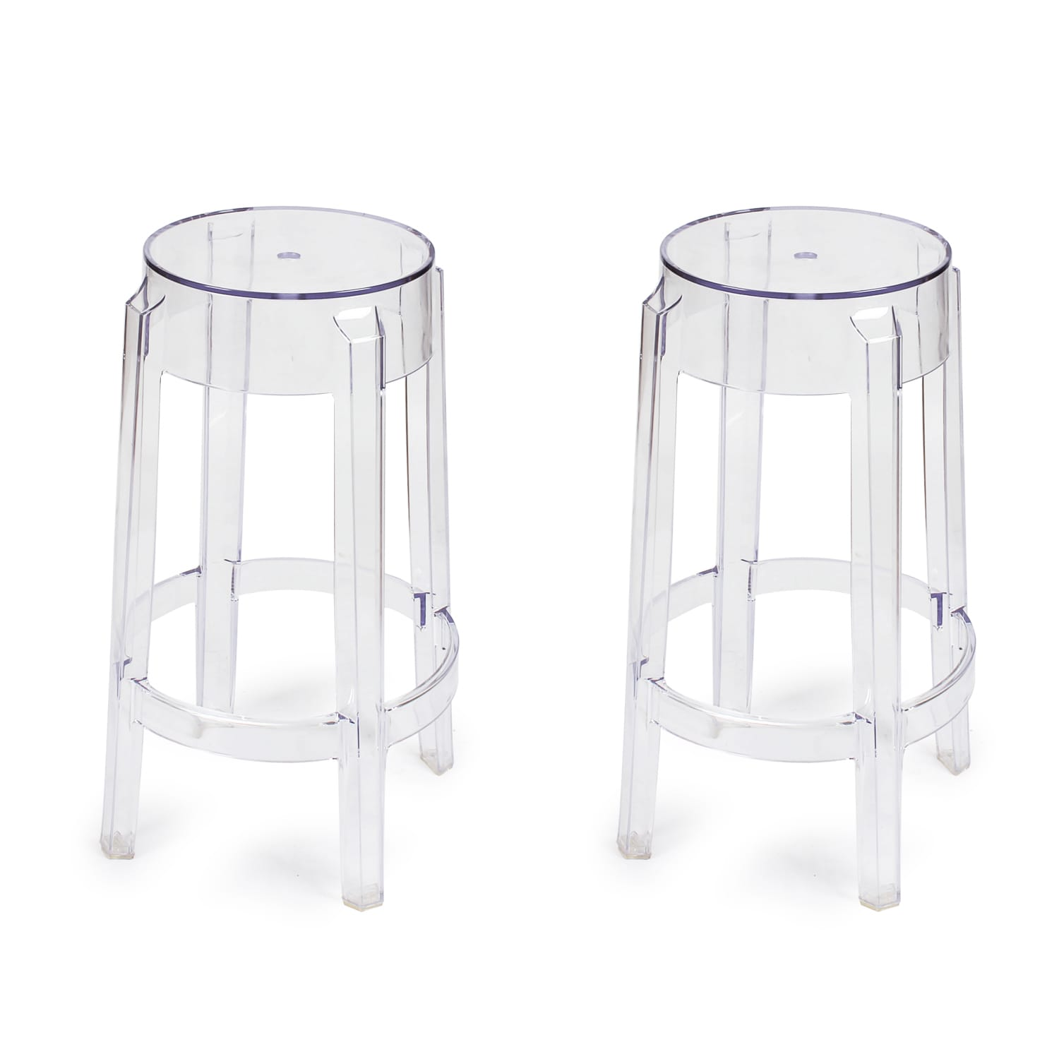 "Image of Adeco 26"" Ghost Counter Stools (Clear) (Set Of 2)"