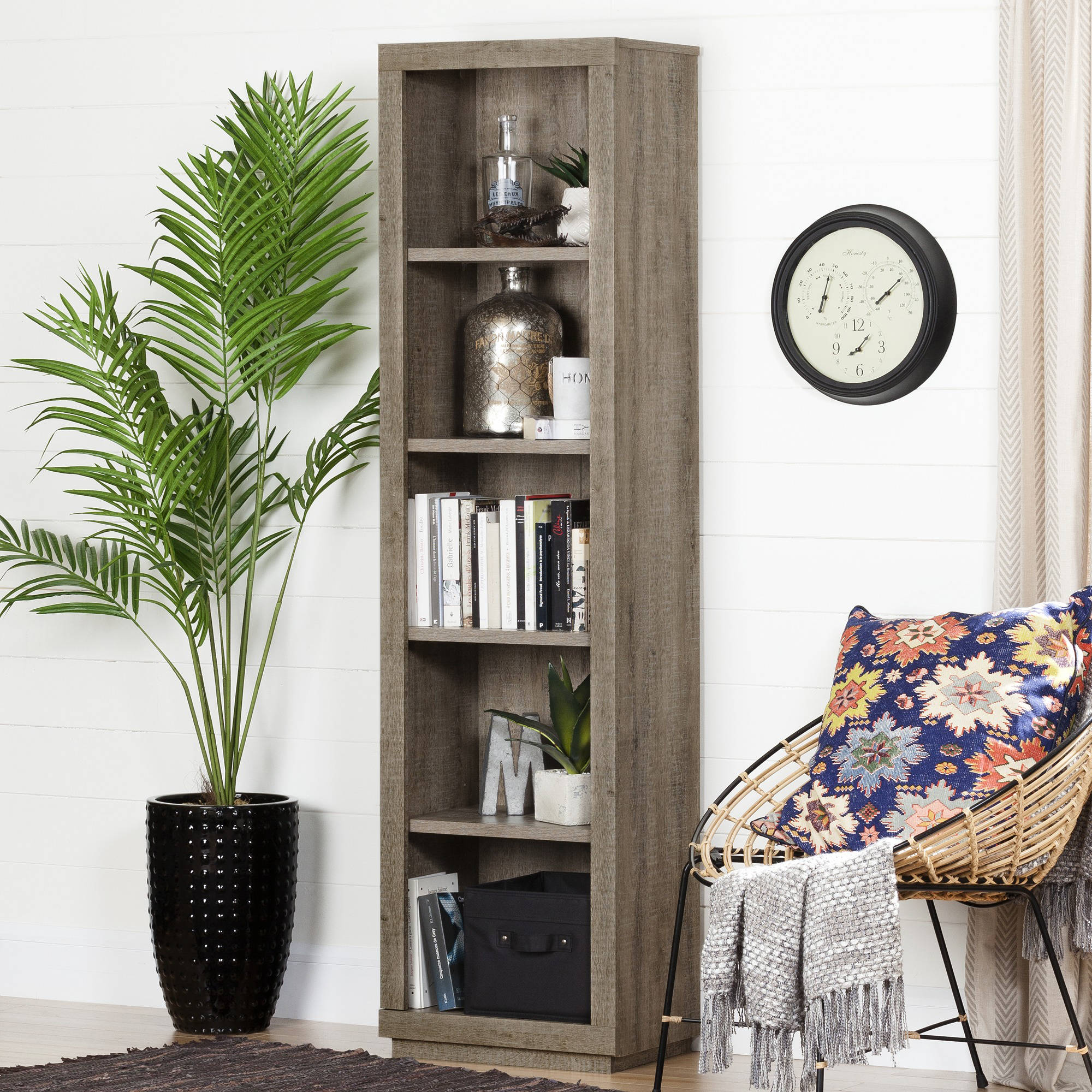 "South Shore Kanji 5-Shelf 71"" Narrow Bookcase, Weathered Oak"