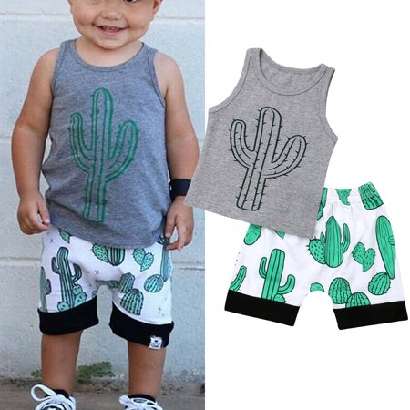 Fashion Toddler Kids Baby Boys Tops Summer Cactus Tops T-shirt Short Pants 2Pcs Outfits Set Clothes ()