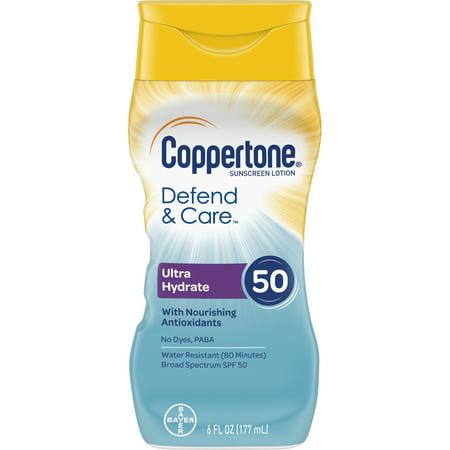 Sun Care Basics Tote (Coppertone Defend & Care Ultra Hydrate Sunscreen Lotion SPF 50 6 oz )