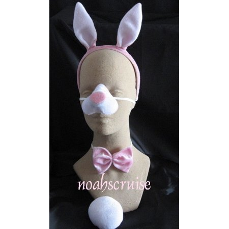 Rabbit Set Sound Costume Accessory Prop Ears Tail Nose Bow Tie Bunny Pink White - image 1 de 1
