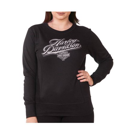 Harley-Davidson Women's Rich H-D Long Sleeve Pullover Crew Fleece, Black, Harley Davidson