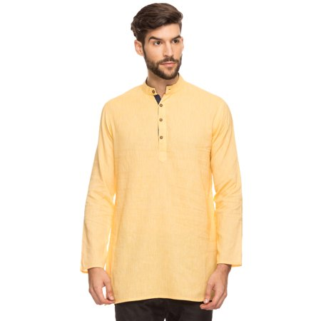 Shatranj Men's Indian Band Collar Mid-Length Tunic Kurta With Micro Stripes