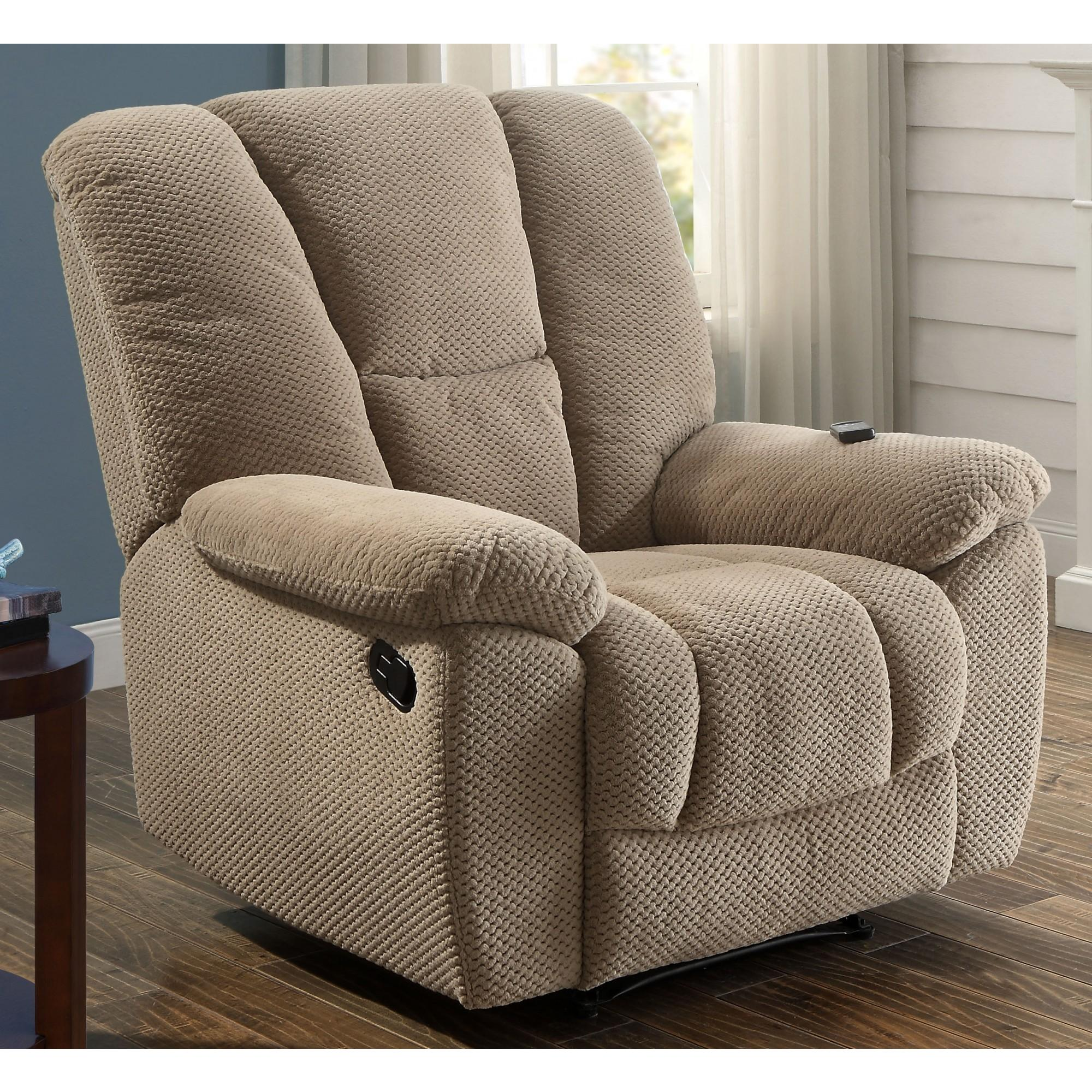 Serta Big & Tall Memory Foam Massage Recliner with USB Charging, Beige