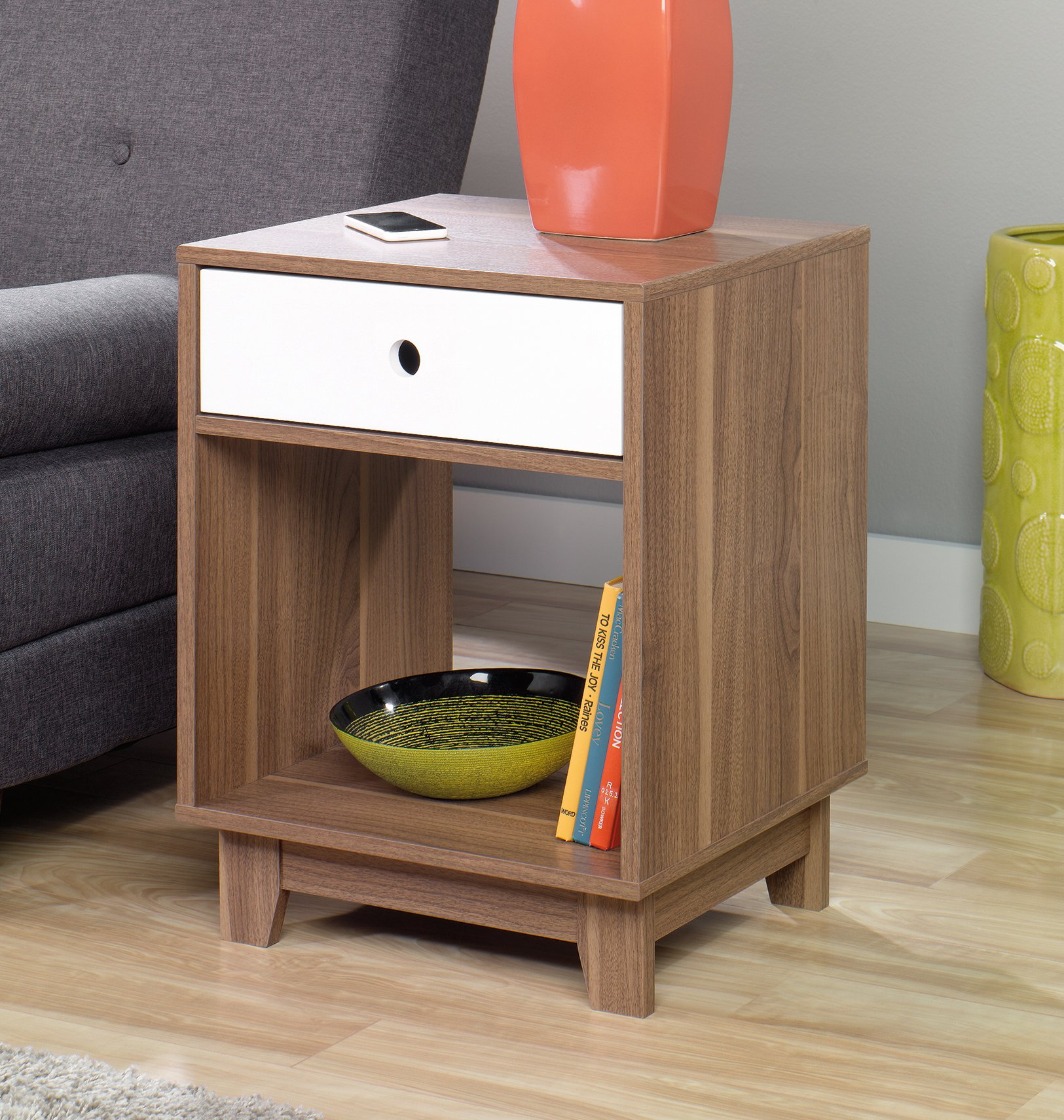 Sauder Furniture 417066 Inspired Accents Decorative Walnut Accent Side End Table