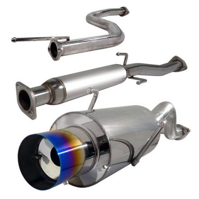 Spec-D Tuning MFCAT2-INT94T-SD 2.5 in. Inlet N1 Style Catback Exhaust System with Burnt Tip Ls-Rs Model for 94 to 01 Acura Integra, 10 x 13 x 48 in.