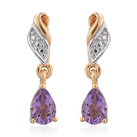 - 925 Sterling Silver Yellow Gold Plated Pear Amethyst Dangle Drop Earrings Cttw 0.6