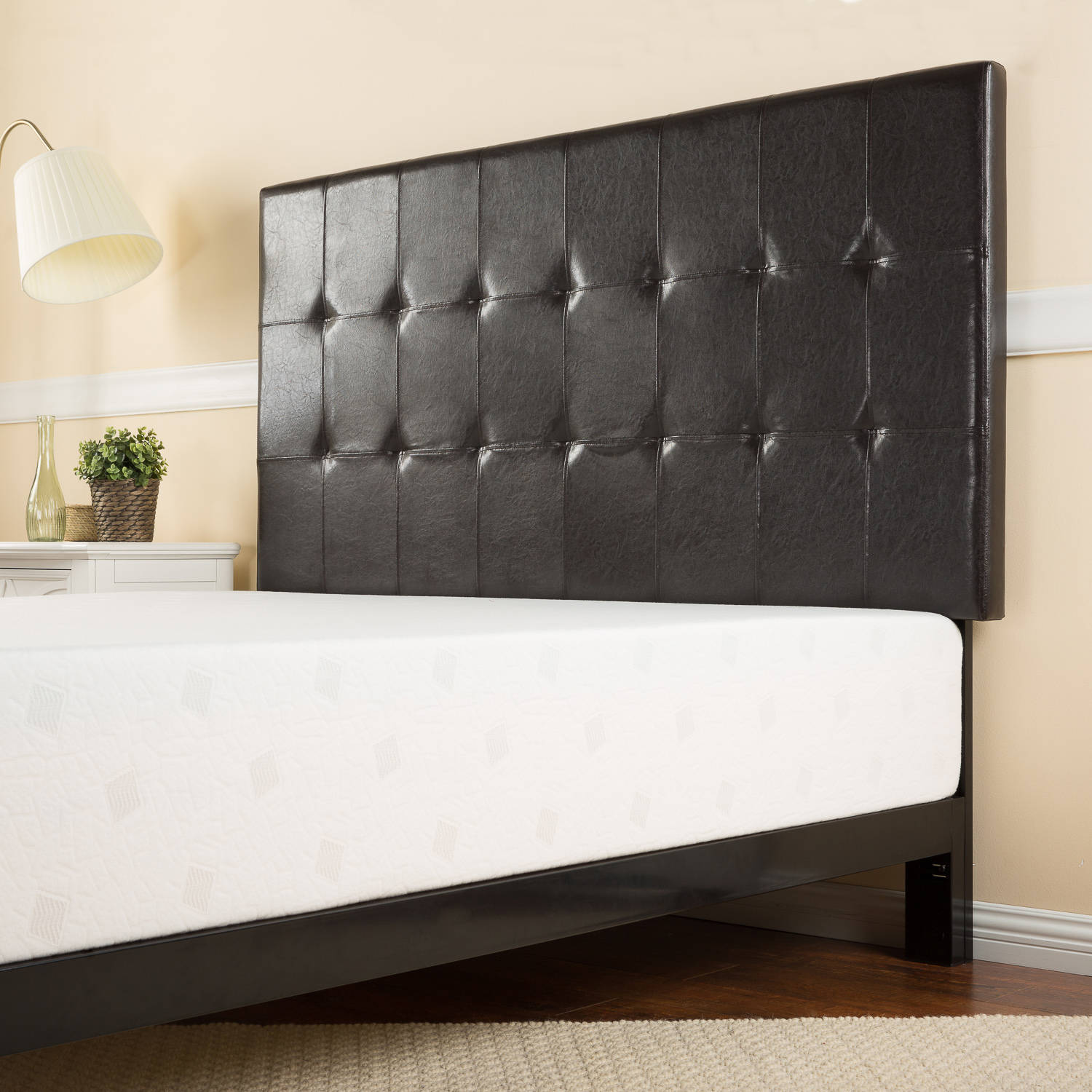 Zinus Faux Leather Square Tufted Full/Queen Headboard, Espresso