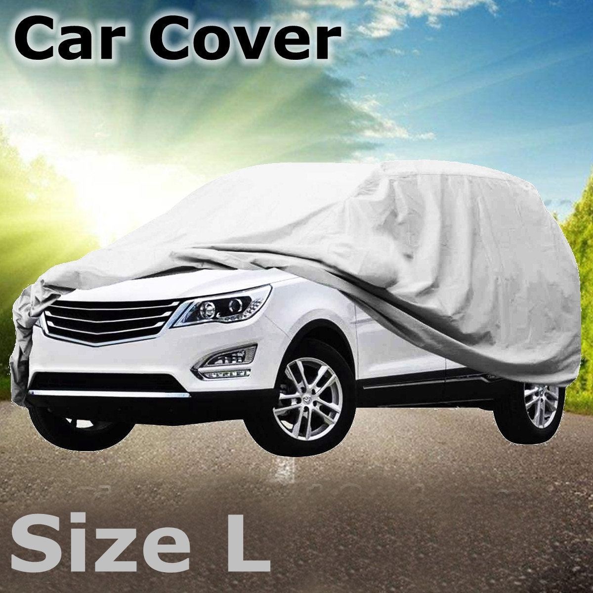 2107759 in SJC SUV Full Car Cover Universal Fit Up to Sedan//Car Automobile Cover TC Silver Waterproof Protection for Dust Rain Sun Snow Outdoor Auto Cover