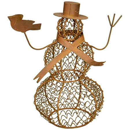 Craft Outlet Tin Wired Mesh Snowman Figurine, 9.5-Inch](Snowman Crafts)