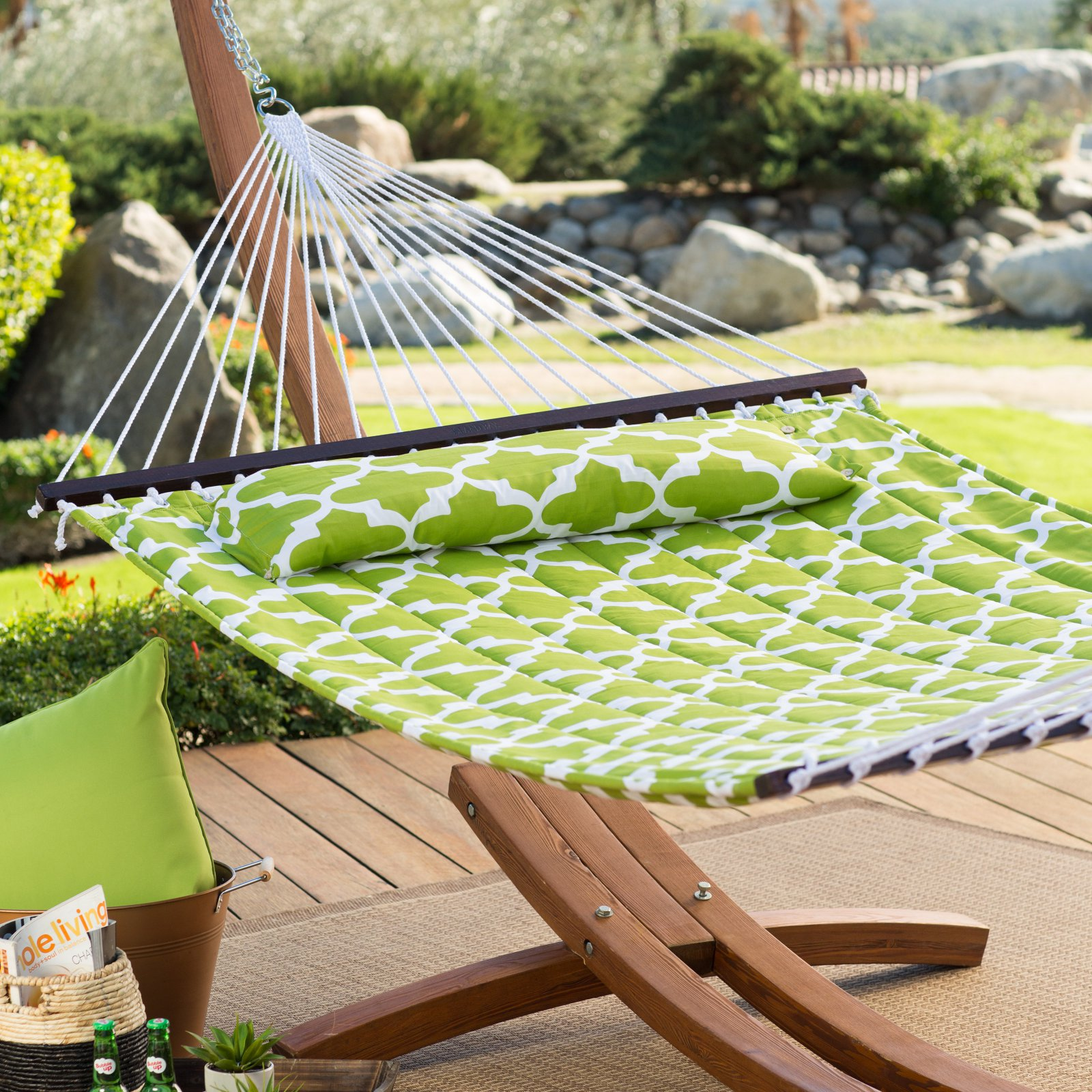 Island Bay 13 ft. Apple Green Quatrefoil Quilted 2 Person Double Hammock by Alfred Zahn Ltd