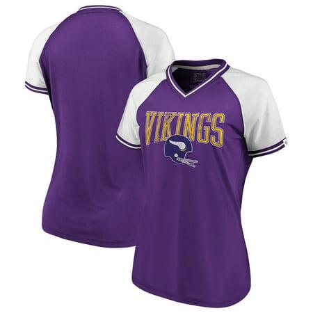 pretty nice c8165 e0d2b Minnesota Vikings NFL Pro Line by Fanatics Branded Women's True Classics  Retro Stripe V-Neck T-Shirt - Purple/White - Walmart.com