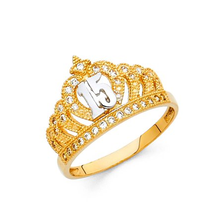 Crown 15 Quinceanera Ring Solid 14k Yellow Gold Princess Quince Band CZ Tiara Stylish (Stylish Cubic Zirconia Ring)