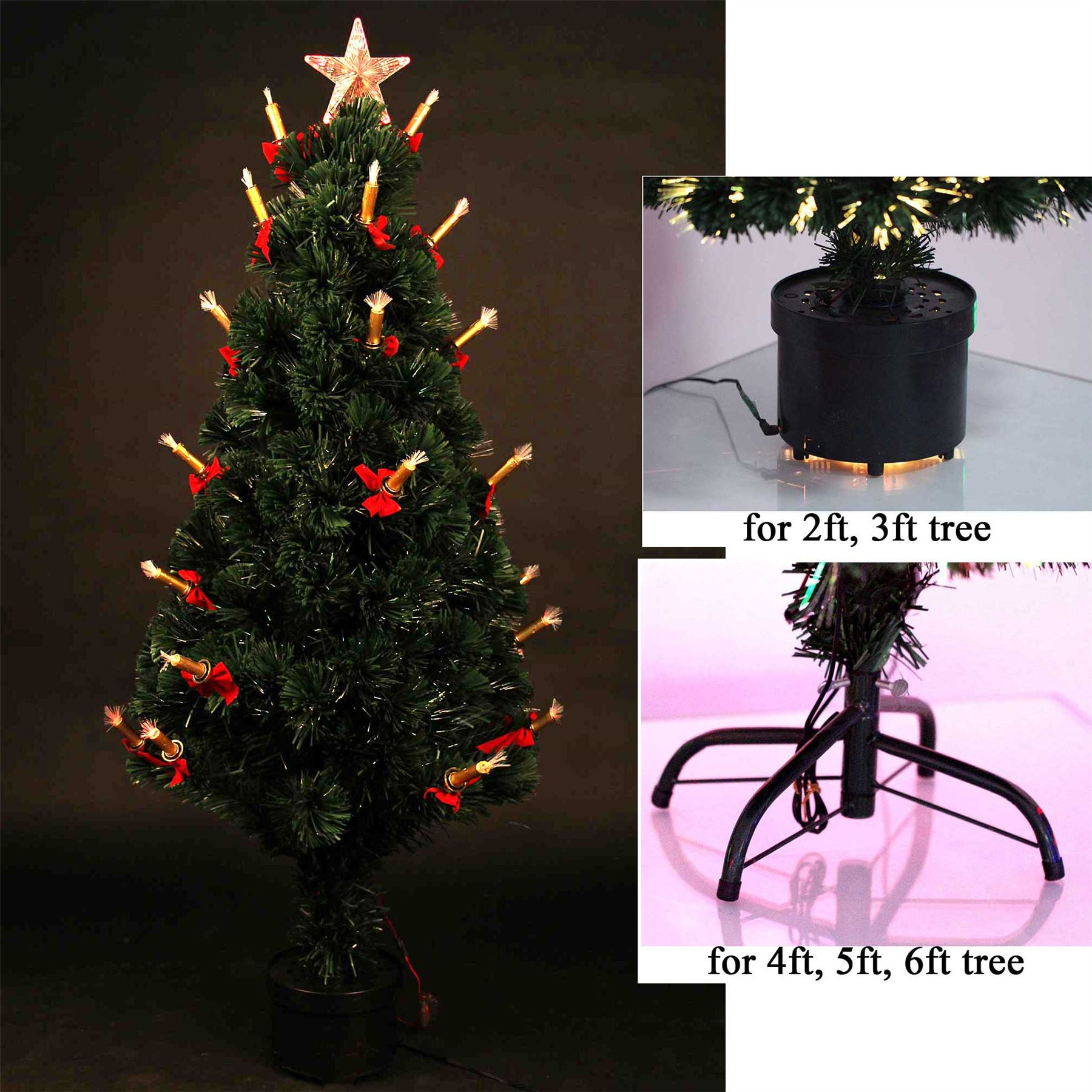 6ft led fibre optic christmas tree pre lit xmas decoration with candle bow walmartcom - 6 Ft Lighted Christmas Tree