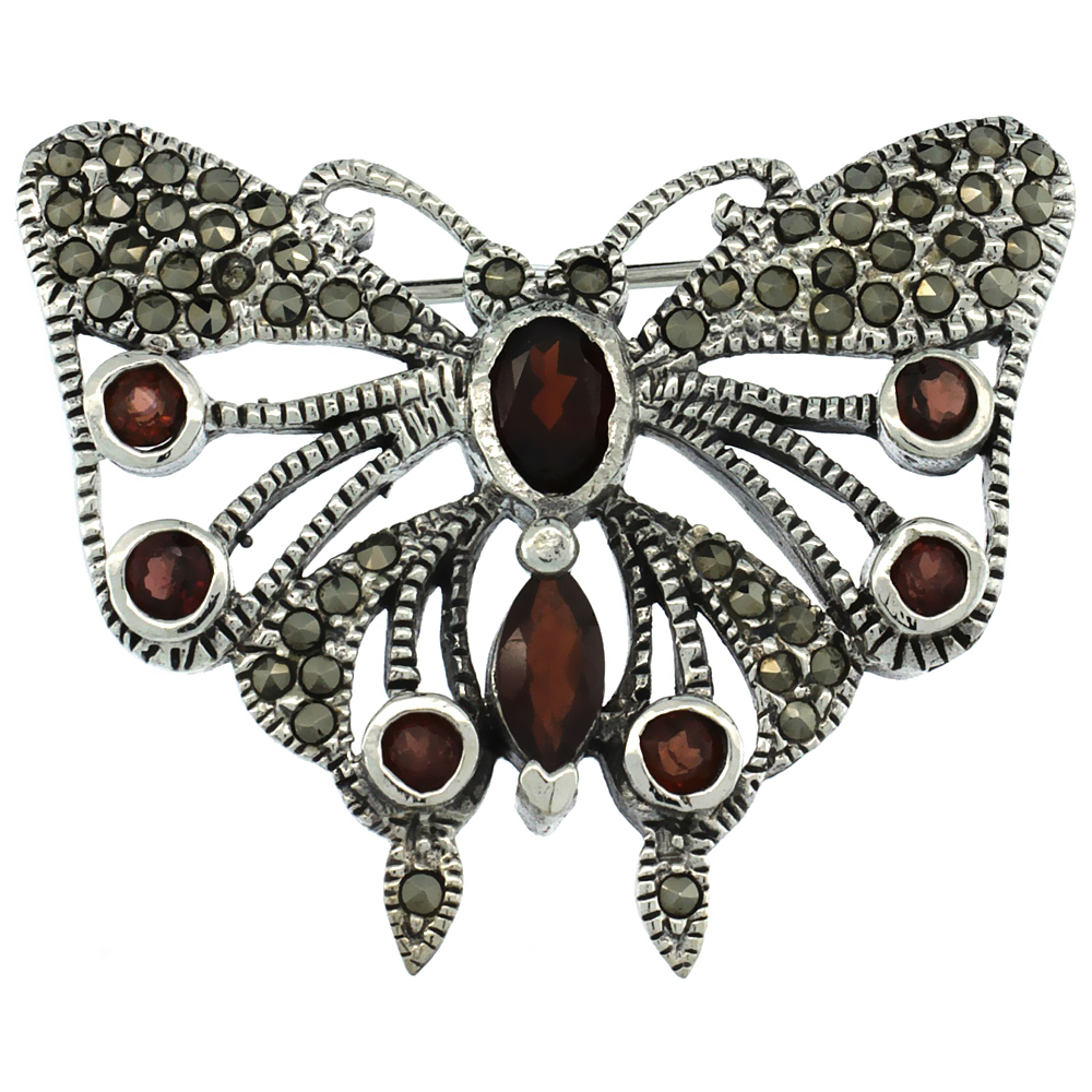 Sterling Silver Marcasite Butterfly Brooch Pin w  Round, Oval & Marquise Cut Garnet Stones, 1 1 4 inch (32 mm) tall by WorldJewels
