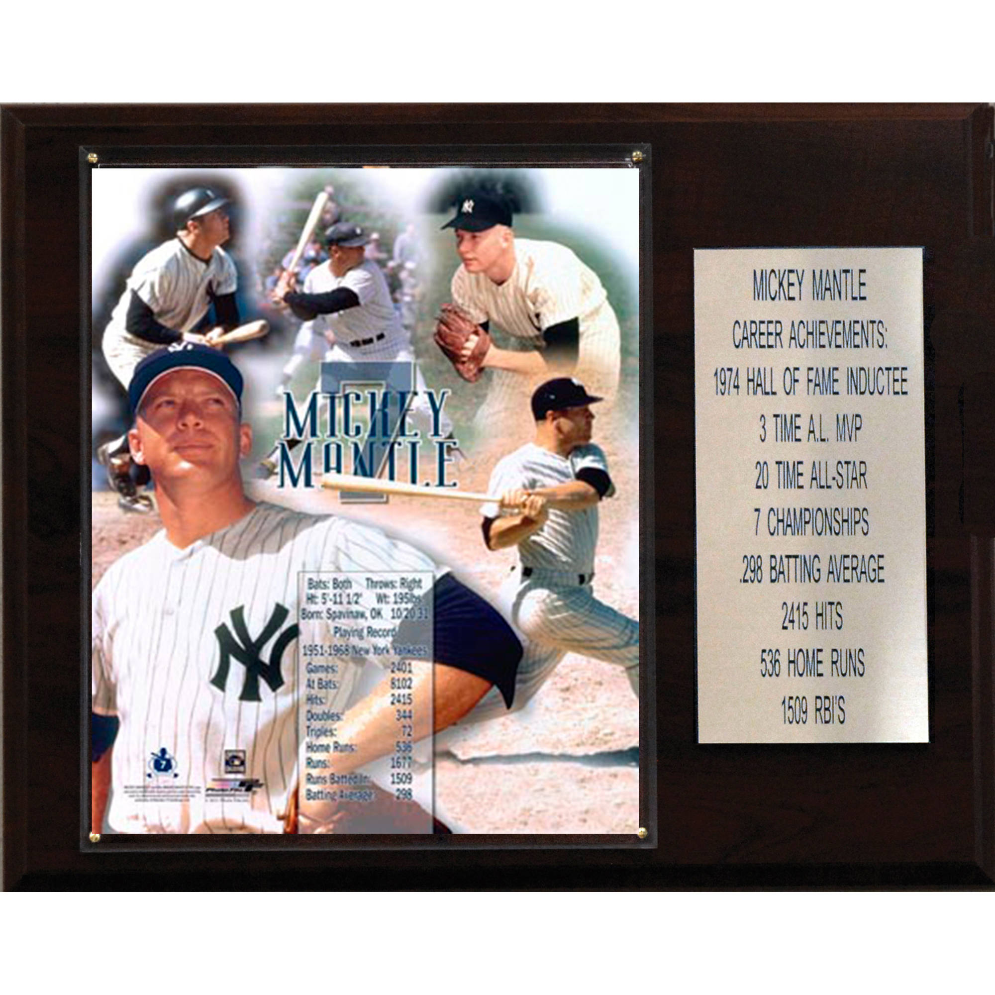C&I Collectables MLB 12x15 Mickey Mantle New York Yankees Career Stat Plaque