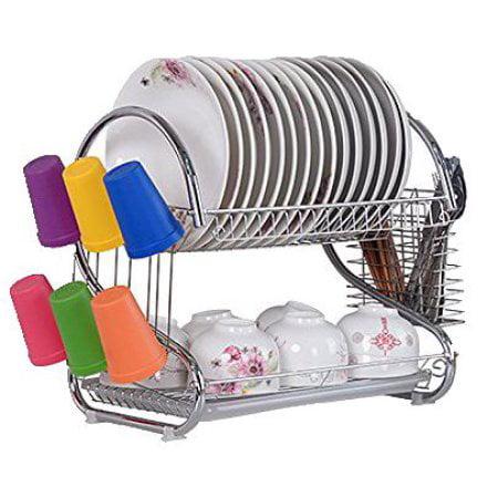 Ktaxon 2 Tier Dish Rack Dish Drying Rack  Kitchen Rack Bowl Rack Cup Drying Rack Dish Drainer Dryer Tray Cultery Holder Organizer