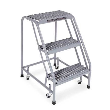 Cotterman Serrated Rolling Ladder, Gray -