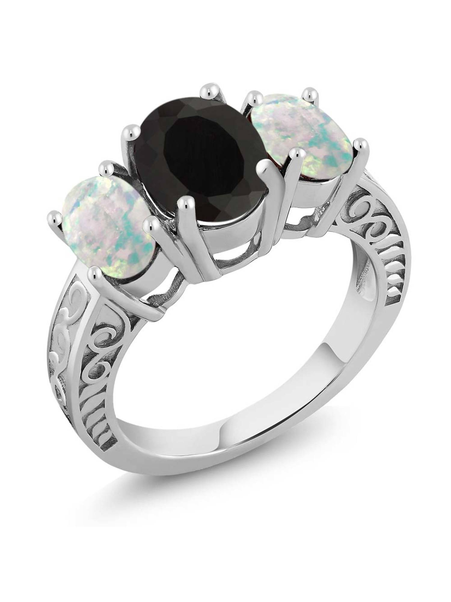 3.26 Ct Oval Black Onyx and White Simulated Opal 925 Sterling Silver Ring by