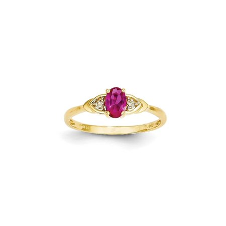 14k Yellow Gold Diamond Red Ruby Band Ring Size 7.00 Stone Birthstone July Set Style Fine Jewelry For Women Gift Set 14k Gold Five Stone