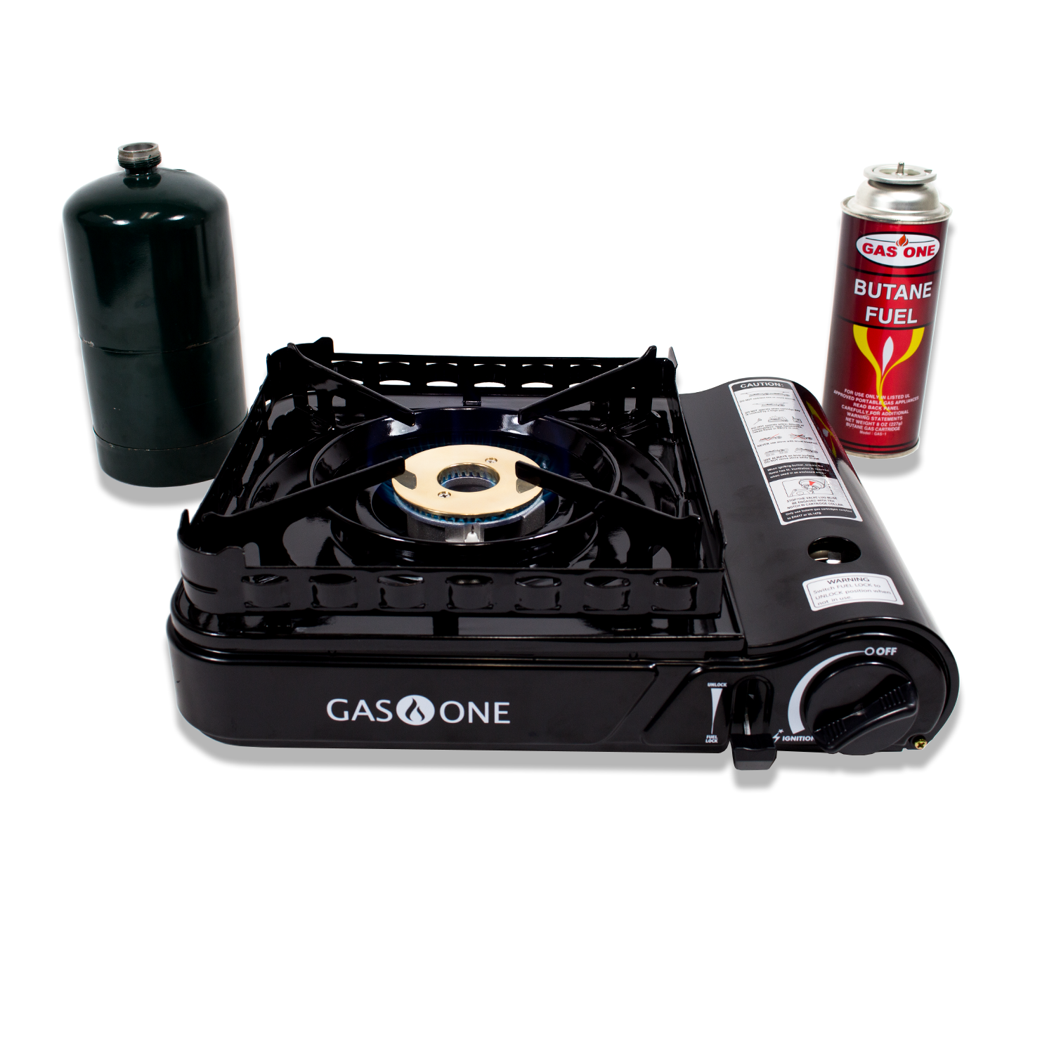 GAS ONE 15,000 BTU Portable Propane or Butane Dual Fuel Stove with Brass Burner Head with Dual Spiral Flame with Convenient Carrying Case GS-3900P