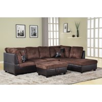 Hermann Right Chaise Sectional Sofa with Storage Ottoman, Chocolate Brown, MicorFiber