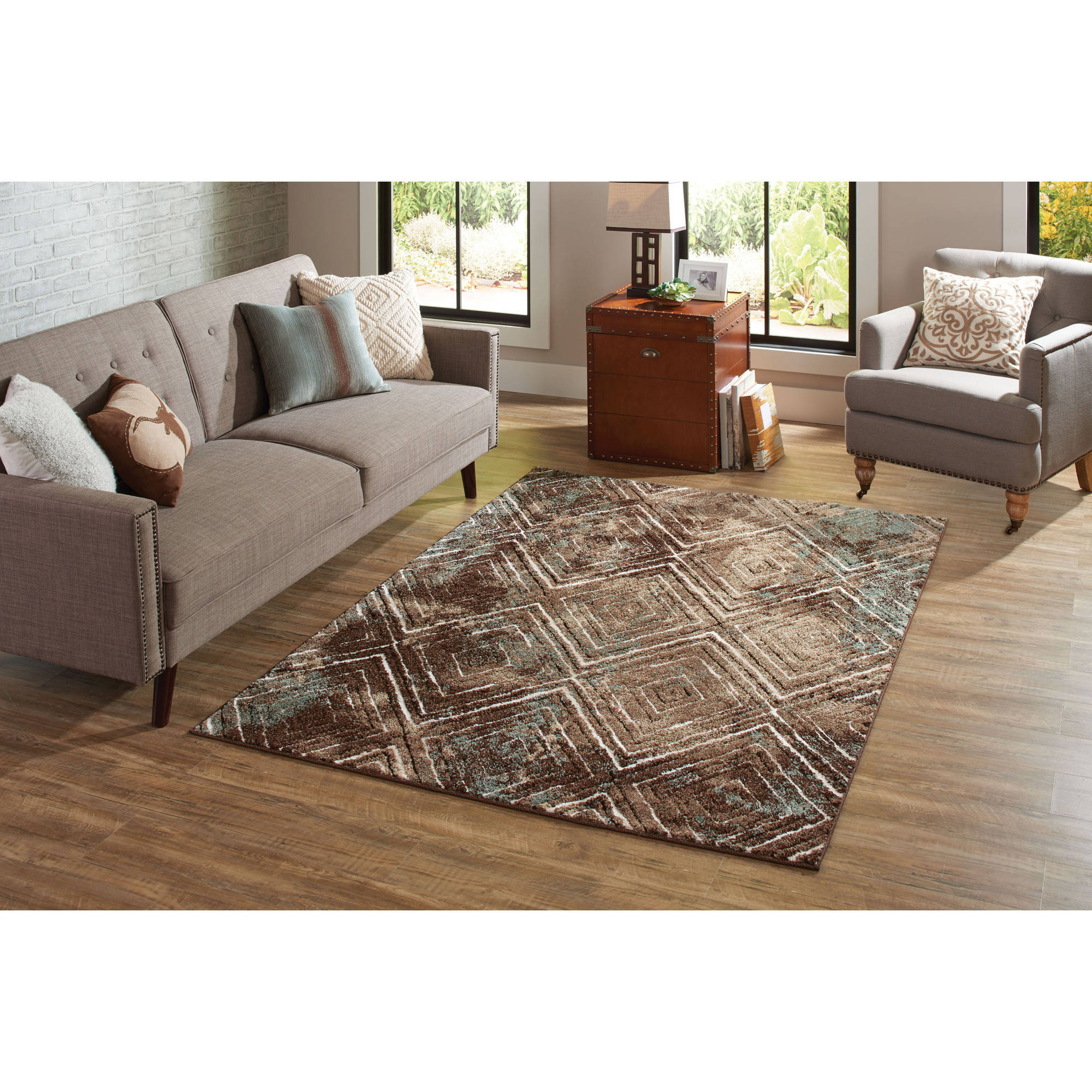 Better Homes and Garden Brown Diamond Polypropylene and Polyester Pile Rug