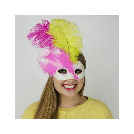 ZUCKER Pink-White Feather Mask w/Ostrich Feathers - Lime - Shocking