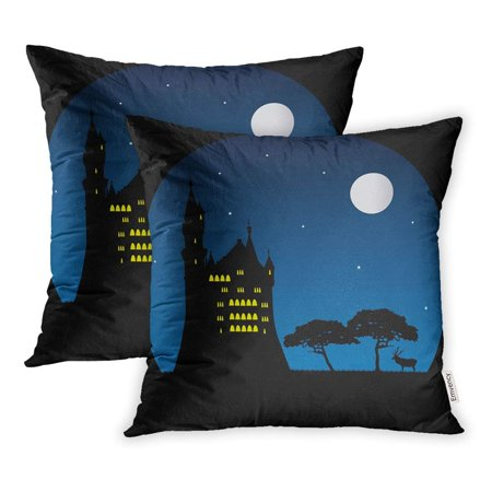 CMFUN Blue Moon Old Castle Deer in Moonlight Silhouettes Night Animal Antler Pillowcase Cushion Cover 16x16 inch, Set of 2 ()