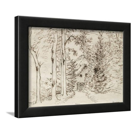 Path Through Woods to a Thatched House, 1866 (Graphite, Pen, and Brown Ink on Paper) Framed Print Wall Art By Jean-Francois (Black Graphite Wood Shaft)