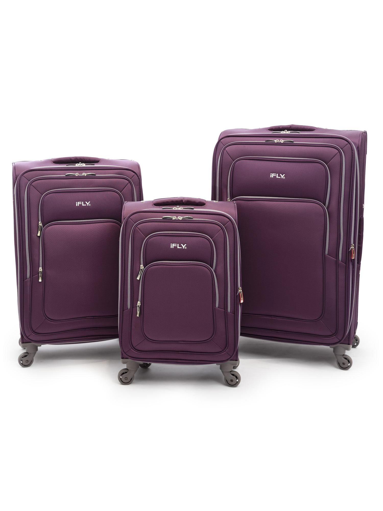 iFLY Soft Sided Luggage Jewel 3 piece set, Purple