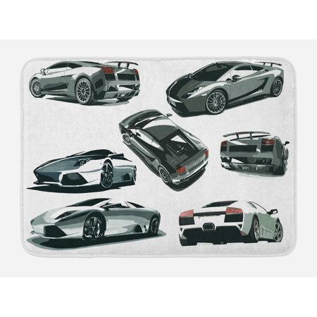 Modern Bath Mat, Grey Cars from Various Angles Automobile Industry Theme Vehicle, Non-Slip Plush Mat Bathroom Kitchen Laundry Room Decor, 29.5 X 17.5 Inches, Pale Sage Green Black White, Ambesonne (Car Themed Decor)