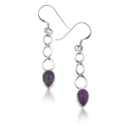 (Infinity Symbol Genuine Amethyst Teardrop Sterling Silver Hook Earrings)
