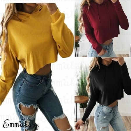 Women Loose Hoodie Sweatshirt Jumper Sweater Crop top Coat Sports Pullover Tops